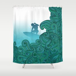 Surfer dude hangin ten and catching a wave Shower Curtain