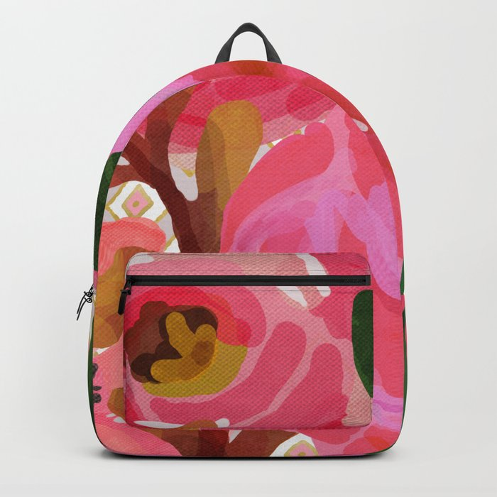 Composition watercolor flowers and rhombuses Backpack