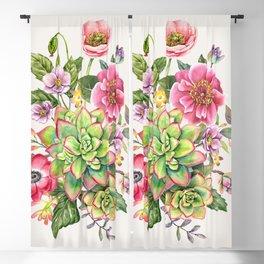Watercolor Succulents #47 Blackout Curtain
