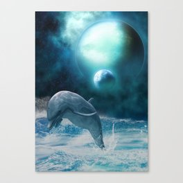 Freedom of dolphins Canvas Print