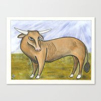 bull Canvas Prints featuring Bull by PJ Mcatee