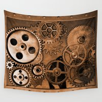 steam punk Wall Tapestries featuring Steam Punk Gears by GrimDork