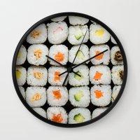 sushi Wall Clocks featuring Sushi by Katieb1013