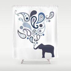 Multi-Blue Paisley Elephant Pattern Design Shower Curtain