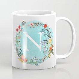 Personalized Monogram Initial Letter N Blue Watercolor Flower Wreath Artwork Coffee Mug
