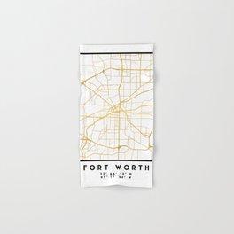 FORT WORTH CITY STREET MAP ART Hand & Bath Towel