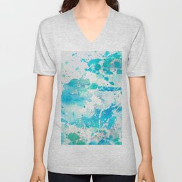 Hand painted teal turquoise ivory watercolor splatters Unisex V-Neck