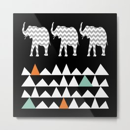 Tribal Elephants, Aztec Andes Pattern Metal Print