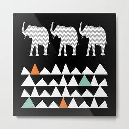 Tribal Elephants, Aztec Andes Pattern Metal Print