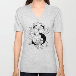 Monogram Letter S with Magnolia Line Art Unisex V-Neck