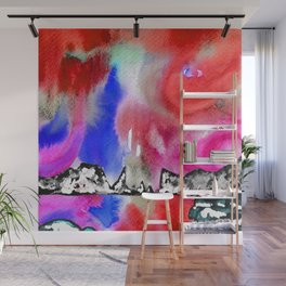Northern Lights and Mountains - Red Palette Wall Mural