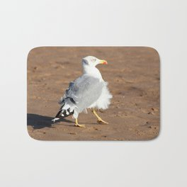 Seagull in a windy day with ruffled feathers Bath Mat
