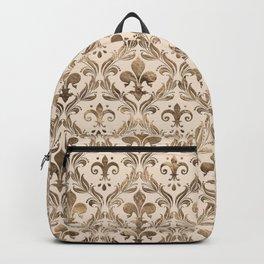 Fleur-de-lis pattern pastel gold Backpack