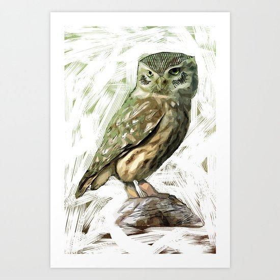 Olive Owl Art Print