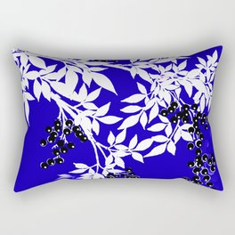 LEAF AND TREE BRANCHES BLUE AND WHITE BLACK BERRIES Rectangular Pillow