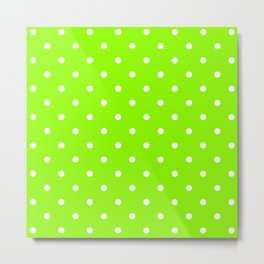Polka Dots Pattern: Lime Green Metal Print