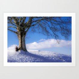 Girl Sitting Under A Tree Art Print
