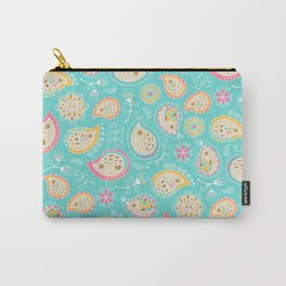 Hedgehog Paisley_Colors and Light blue Carry-All Pouch