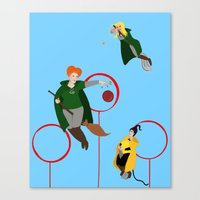 quidditch Canvas Prints featuring Quidditch Sisters  by Katá Mart