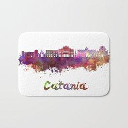 Catania skyline in watercolor Bath Mat