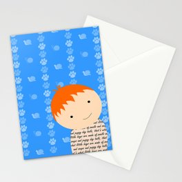 Snails and Puppy Dog Tails Red Headed Little Boy Stationery Cards