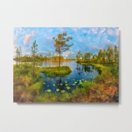 Autumn on the river Metal Print