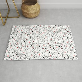 Seamless geometric pattern of red spheres, black dots and wavy lines Rug
