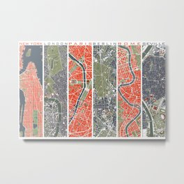 Six cities: NYC London Paris Berlin Rome Seville Metal Print