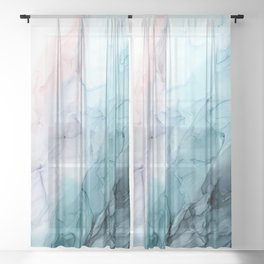 Beachy Pastel Flowing Ombre Abstract Flip Sheer Curtain
