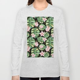 Tropical Monstera and Flower Pattern Long Sleeve T-shirt