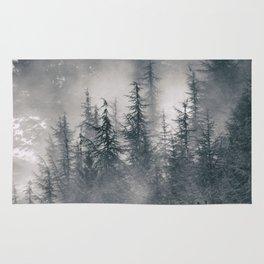 """Mountain light II"". Foggy forest. Rug"