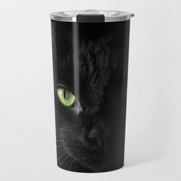 Black cat | Witchy cat | Green eyes | Cat love | Happy halloween Travel Mug