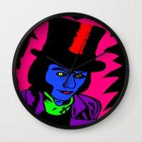 willy wonka Wall Clocks featuring Pop Art Willy by saraz0mb13