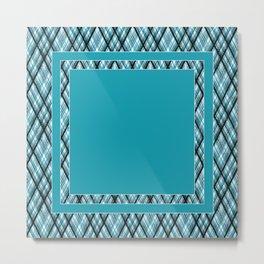 Blue, white ,black ,tartan Metal Print