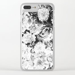 Black gray modern watercolor roses floral pattern Clear iPhone Case