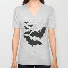 Black Bats with Spider Web Halloween Unisex V-Neck