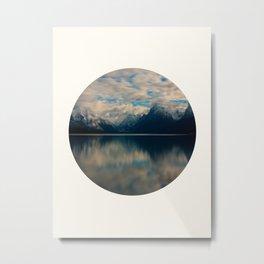 Mid Century Modern Round Circle Photo Reflective Blue Mountain Range Metal Print