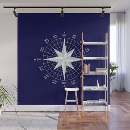 Compass on Navy Blue Wall Mural