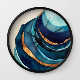 Abstract Blue with Gold Wall Clock