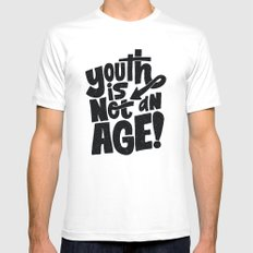 youth is not an age MEDIUM White Mens Fitted Tee