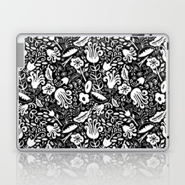Funky Vintage Floral // Monochrome Black and White // Color Your Own Flower Garden Laptop & iPad Skin