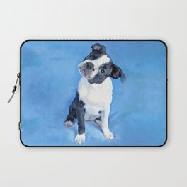 Cute Boston Terrier Puppy Painting Laptop Sleeve