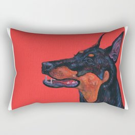 Eva the Dobermann on a Bloody red background Rectangular Pillow