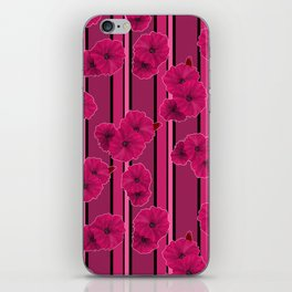 Floral pattern on striped background iPhone Skin