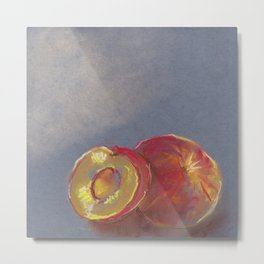 Mouth-watering peaches. Drawing with pastels. The texture of pastels. Metal Print