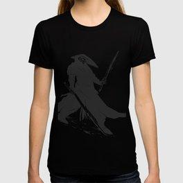 Samurai skull - japanese evil - black and white - fighter illustration - grim reaper cartoon T-shirt
