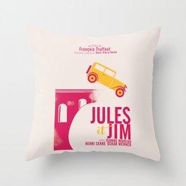 Jules et Jim, François Truffaut, minimal movie Poster, Jeanne Moreau, french film, nouvelle vague Throw Pillow