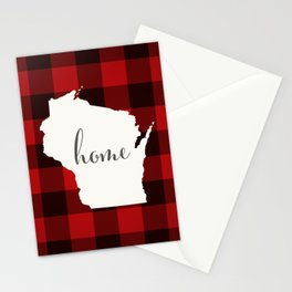 Wisconsin is Home - Buffalo Check Plaid Stationery Cards