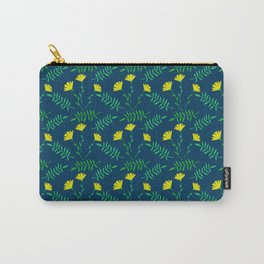 Bright yellow and dark blue flowers pattern. Carry-All Pouch
