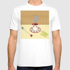 cup of tea White Mens Fitted Tee MEDIUM